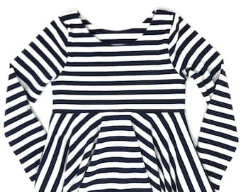 Girls Twirl Dress - Navy and White - Girls Stripe Dress - Cotton Knit Swing Play Dress