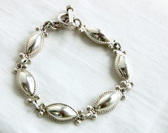 Mexican Bracelet Sterling Silver Toggle Chain Link Size 7 .5 Medium Traditional Oval Drop Bracelet Everyday Jewelry Vintage
