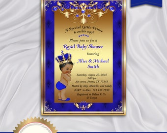 Prince Baby Shower Invitation, Little Prince, Royal Baby Boy Invitation, African American, Royal Blue, Gold - Printable, Digital file, BBS01