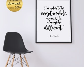 In Order To Be Irreplaceable. Coco Chanel Decor, Printable Typography, Home Decor, Quote Print, Art Print, Girls Art