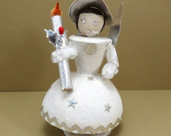 Christmas Angel Paper Mache Nodder Vintage 1950s Christmas Decoration Kitschy Christmas