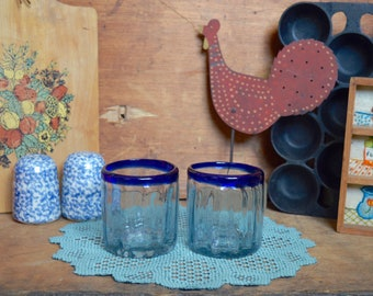 2 Vintage Mexican Blown Glass Tumbler Drink Cup Glasses with Cobalt Blue Rims Set of 2