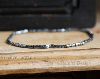 aero silver small bead bracelet for men - super small bead bracelet for men from Maria-Helena Design