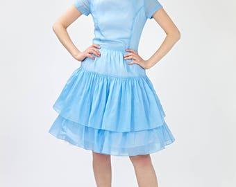 Blue bridesmaid dress Short bridesmaid dress Fit and flare Bridesmaid dresses 50s Low back dress blue  Plus size dress Full skirt dress