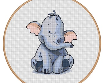 MORE for FREE - Heffalump - Counted Cross stitch pattern PDF-Instant Download-Cross Stitch Pattern - Children-Kids-Needlepoint - #1626