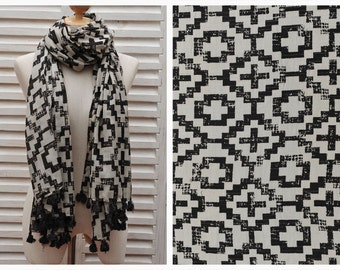 SALE 50% OFF Geometric Print Scarf Fashion Scarf Boho Scarf Black White Scarf Perfect Gift Scarf For Women Gift