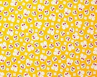 The Little Red Hen Tossed Cherries Yellow Yardage, Cherries Fabric, Cherries on Yellow Background, Dana Brooks Fabric