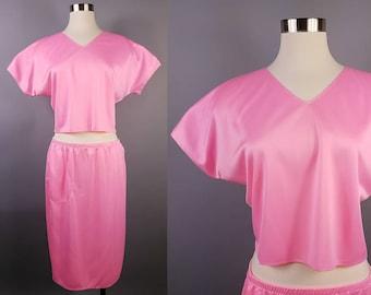 Pink Lingerie Crop Top Skirt Set, Vintage Crop Top Set Nylon, Matching Co Ord Lingerie, Pink Pajama Set, 80s Crop Top and Skirt Matching Set