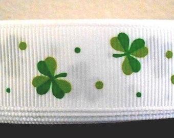 "St Patrick's Day Clover Shamrock 7/8"" Grosgrain Ribbon By the Yard"