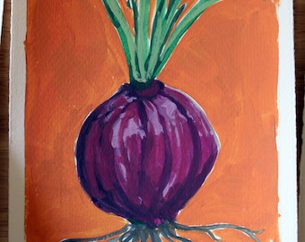 RED ONION hand painted gouache on paper 6x8