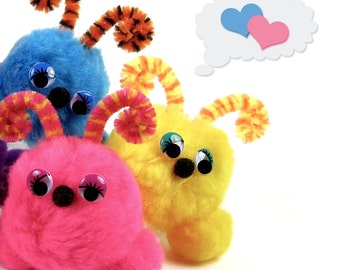 Furry Friend Pom Pom Kit, DIY Fun Animal Creature Crafts For Kids Pink Orange Yellow Lime Green Blue Purple Wiggle Eyes Rainbow Party Favors