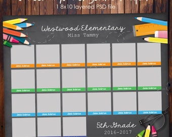 School Class Photo Template - School Supplies - 8x10 Photoshop File