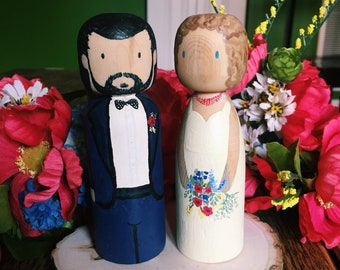 Wedding Topper Peg Dolls Custom Handmade