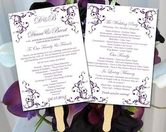 "DIY Wedding Program Fan Template - Printable Wedding Program ""Diana""  Eggplant Purple - Order of Ceremony Instant Download Printable Wedding"
