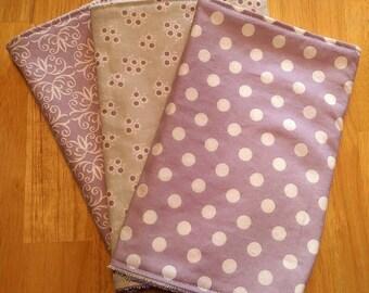 Burp Cloths for Girl Lavender, Baby Gift, Baby Shower Gift, Feeding Burp Cloths, Burp Rags, Diaper Rags, Spit Rags