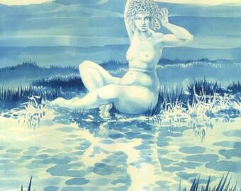 "Medusa and Glastonbury Tor - ""Medusa of the Levels"" - art print by Nancy Farmer. Medusa with worms instead of snakes. Female nude."