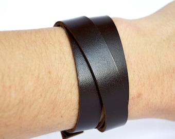 Dark Chocolate Brown Leather Wrap Bracelet Cuff:  Simple Triple Wrap Adjustable Leather Cuff // Leafy Treetop Leather // Brown Leather Cuff