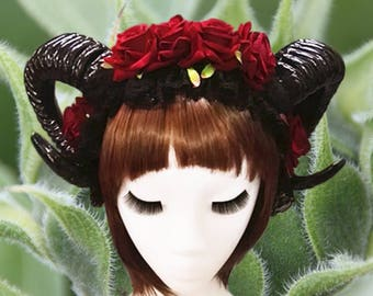Black Horror Horns With Flowers Headband, Ram Horns With Flowers Headband, Horn Headdress, Horns, Halloween Horns, Gothic