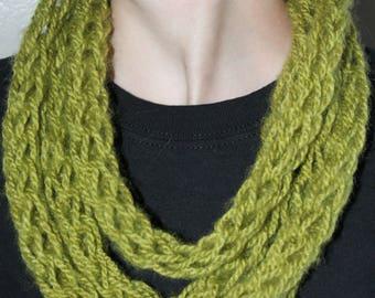 Apple Green Finger Knit Infinity Scarf