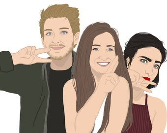 Custom portrait of Group (3 to 4 people) - Illustration
