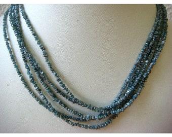 Blue Diamonds - Raw Uncut Diamond Beads - 2mm To 3mm - 4 Inch Strand