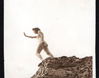 Vintage Snapshot Photo Unusual Pose Swimsuit Girl Standing on Rock Low Angle 1930's, Original Found Photo, Vernacular Photography