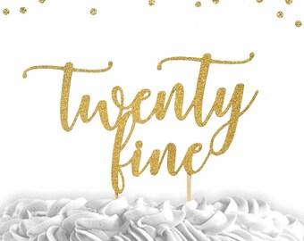 1 pc age twenty fine twenty something birthday script fonts gold black fuchsia pink silver glitter cake topper