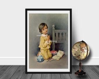 Nursery Art, Little Boy's Room Art, Bedroom Art, Guest Room Art,  Boy Saying Prayers  #448