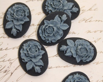 6 unset rose cameos - Grey on black - 25x18mm