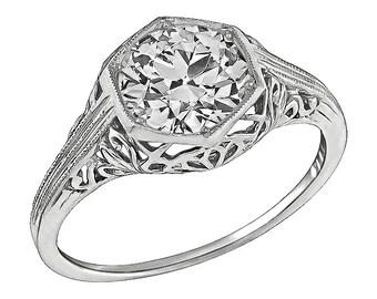 Vintage GIA Certified 1.38ct Diamond Engagement Ring