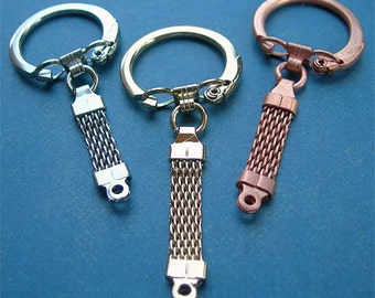 Vintage Key Rings Fobs Mixed Metals Assortment Copper Brass Silver lot of 3 keychains