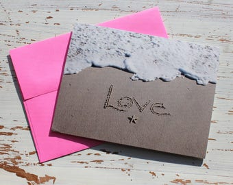 Love Beach Writing Card, Valentines Day, Valentine's Day ,Ocean, Beach, Photo Card,