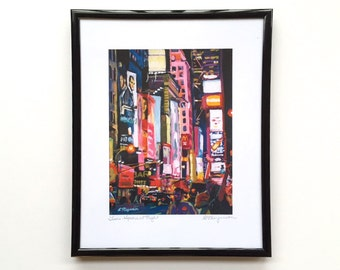 New York Art Times Square Night New York City framed art, 8x10 black metallic frame, Theater District Broadway NYC painting by Gwen Meyerson