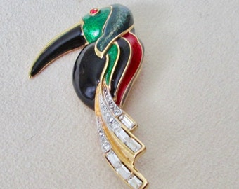Tukan enamelled brooch