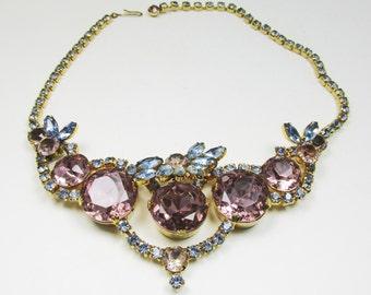 Sensational Vintage 1960s Runway Gold Toned Rhinestone Necklace