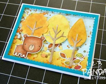 Autumn Scene Bear Shaker Card