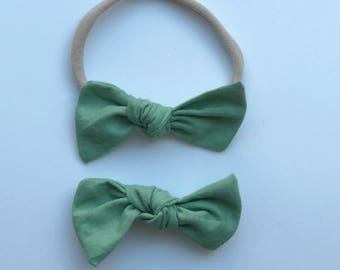 Knot Bow, Mint Green, nylon headband, alligator clip, infant, toddler, baby gift