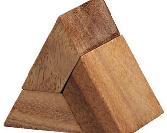 3 Piece Pyramid - wooden brain teaser puzzle