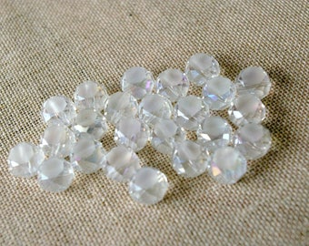 Set of 5 white faceted Crystal beads