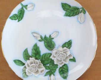 Vintage Gardenia Plate • Hand Painted Floral Plate • Decorative Made in England Tuscan Single Plate