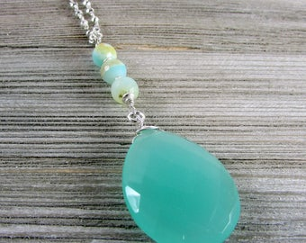 Chalcedony & Peruvian Opal Long Necklace, Light Blue Green Chalcedony Pendant, Silver Pyrite Chain Jewelry