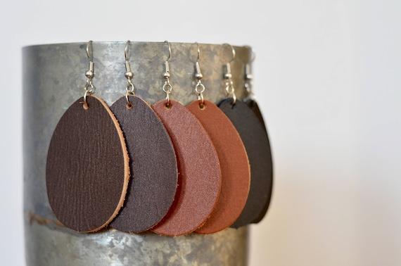 Large Leather Teardrop Earrings, genuine full-grain leather essential oil diffuser earrings in Caramel, Chocolate & Black, steel earwires