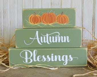 Autumn Blessings Shelf Sitter Blocks Sign Thanksgiving Decoration Stacking Blocks Handcrafted