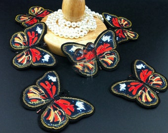10pcs 8x6cm wide red orange  butterflies pocket embroidered appliques patches 325h70 free ship