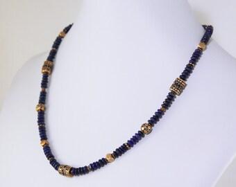 Blue Lapis Lazuli Statement Necklace Genuine Lapis Necklace Blue Necklace Adjustable Necklace Lapis Jewelry GEM-N-177-Lapis
