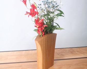 Butternut Wood Vase, Dry Flower Series Vases, Classic Sassy, Hand Sculpted with Hand Rubbed Oil Finish