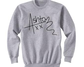 Ashton Irwin Signature Sweatshirt, 5SOS Shirt, 5 Seconds of Summer Autograph, Crew Neck Sweater, Band Shirt, Band Merch, Tumblr, Instagram