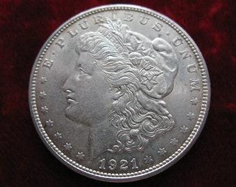 1921-D Morgan Silver Dollar, ALMOST UNCIRCULATED Original Condition! Very Nice Genuine Coin! !
