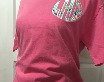 Comfort Color Appliqued T-Shirt (Lilly Pulitzer Fabric)