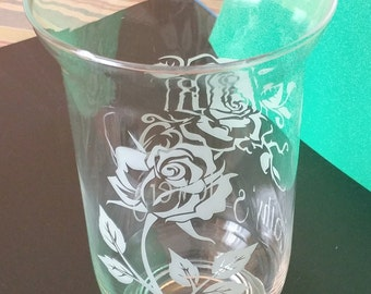 Personalized Etched Glass Flower Vase